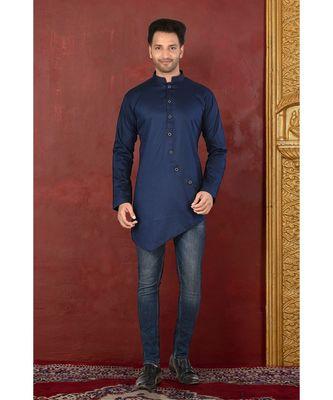 blue embroidered Cotton men kurtas