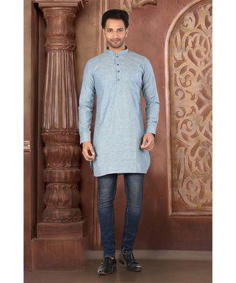 turquoise embroidered Cotton men kurtas