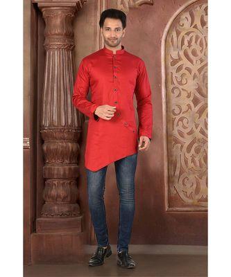 red embroidered Cotton men kurtas