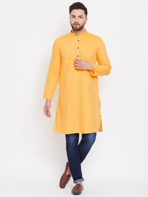 Yellow plain pure linen men-kurtas