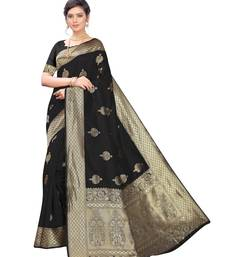 Black woven poly silk saree with blouse