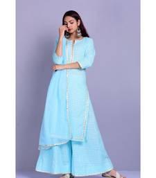 Turquoise And White Garara Set