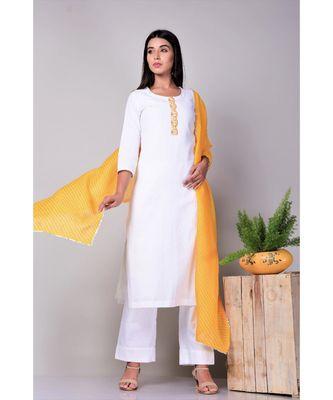 White suit set with leheriya Stole