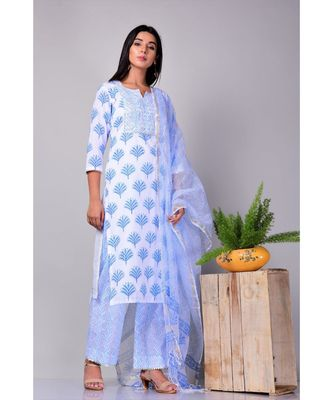 White and Blue Buti Suit Set