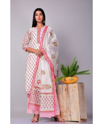 Off white and Pink Chanderi silk Suit Set