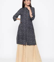Navy printed rayon kurtas-and-kurtis