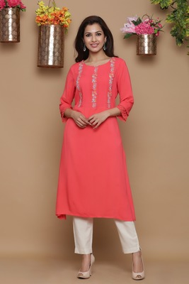 Coral embroidered rayon kurtas-and-kurtis