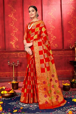 Blood red woven art silk sarees saree with blouse