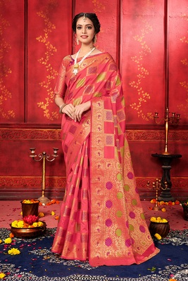 Multicolor woven art silk sarees saree with blouse