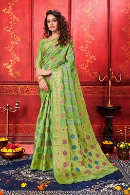 Green woven art silk sarees saree with blouse
