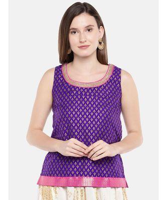 Ethnicity Women Purple Sleeveless Top
