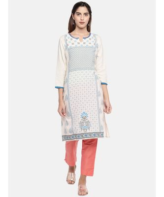 Ethnicity Women Ecru Three-Fourth Kurta