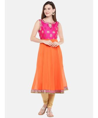 Ethnicity Women Orange Sleeveless Kurta