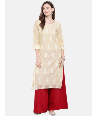 Ethnicity Women Beige Three-Fourth Kurta