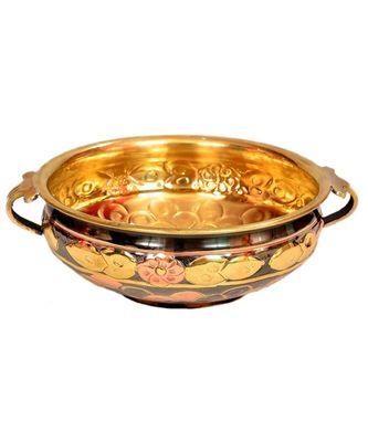 E-Handicrafts Uruli/Urli Bowl Hammered Pure Brass Multicolor (10 inch)