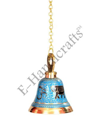 E-Handicrafts Blue Hanging Brass Pooja Bell (5inch Height and 4inch Width with 20 cm Chain)