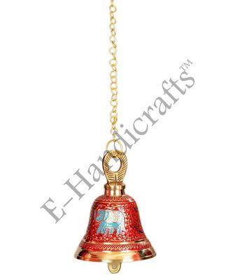 E-Handicrafts Brass Hanging Bell (Pink Gold_5 x 4 cm)