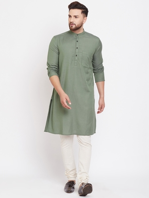 Green plain pure linen men-kurtas