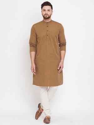 Brown plain pure cotton men-kurtas