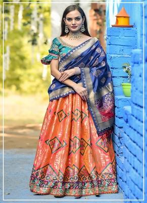 Orange embroidered banarasi silk semi stitched lehenga