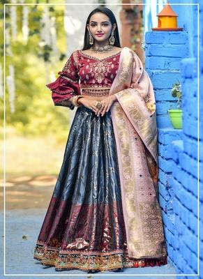 Grey embroidered banarasi silk semi stitched lehenga