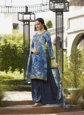 Blue diamond work crepe salwar
