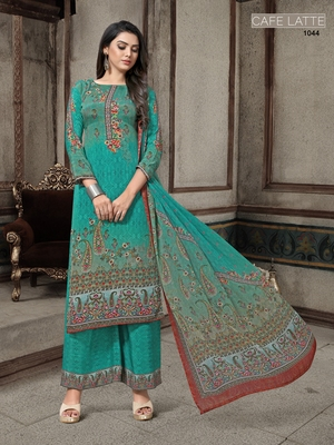 Green digital print crepe salwar
