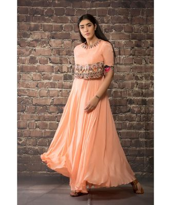 sulochana jangir peach chiffon dress  with hand and machine embroidery .
