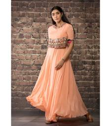 sulochana jangir peach chiffon dress  with hand and machine embroidery .