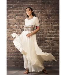 sulochana jangir white chiffon dress with hand and machin embroidery