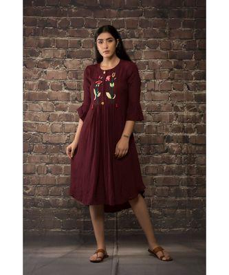 sulochana jangir maroon linen silk tunic with lily flower hand embroidery.