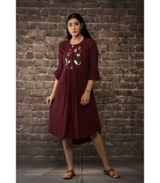 sulochana jangir maroon linen silk tunic with lily flower hand embroidery.