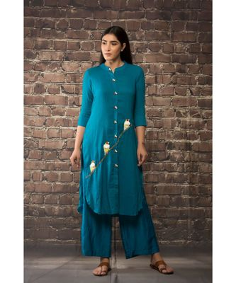 sulochana jangir teel blue linen silk kurta with 3 bird with hand and machine embroidery paired with matching pants