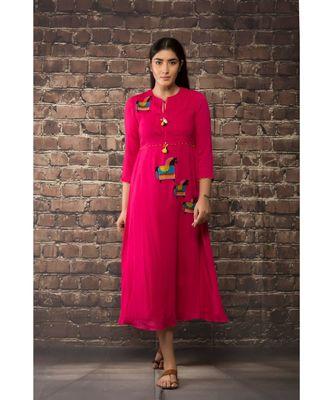 sulochana jangir fuchsia pink linen georgette kurta with  machine embroidery