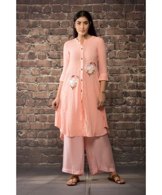 sulochana jangir old rose pink linen silk kurta with anchor hand embroidery paired with matching pants