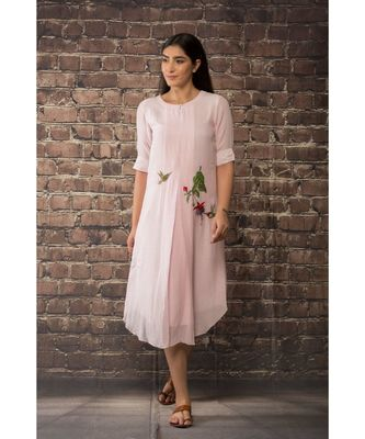 sulochana jangir baby pink linen silk kurta with rose hand embroidery