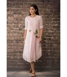 sulochana jangir baby pink linen silk kurta with rose hand embroidery