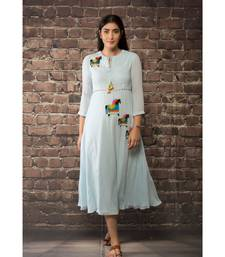 sulochana jangir sky blue linen georgette dress with aari work.
