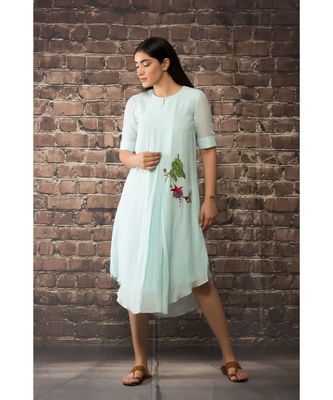 sulochana jangir sky blue linen georgette tunic with bird and bud  embroidery