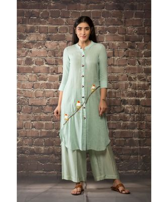 sulochana jangir mint green linen georgette tunic with 3 bird embroidery