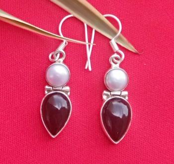 92.5 Sterling silver semi precious Gem stone & sea water pearl Hoop fashion earrings for women & girls