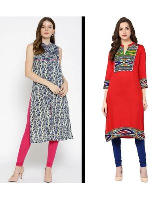 multicolor printed cotton combo kurtis
