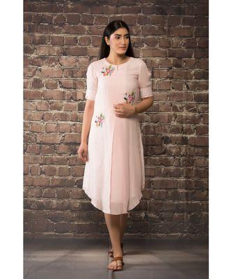 sulochana jangir baby pink handloom linen twill tunic with 3 flower hand embroidery
