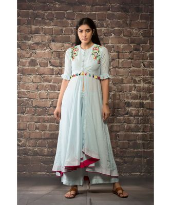 sulochana jangir ice blue linen silk with bead hand embroidery paired with matching pant
