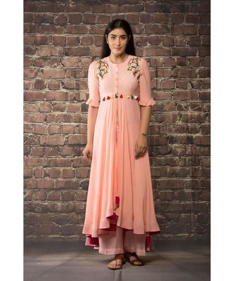 sulochana jangir old rose pink linen silk dress  with BEAD HNAD  embroidery paired with matching  pants .