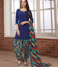 Blue digital print crepe salwar