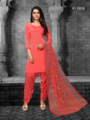 Red digital print crepe salwar