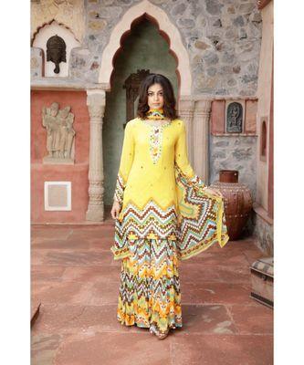 Charu parashar Yellow printed kurta with printed sharara and dupatta