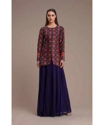 Charu Parashar Blue printed jacket with sharara style