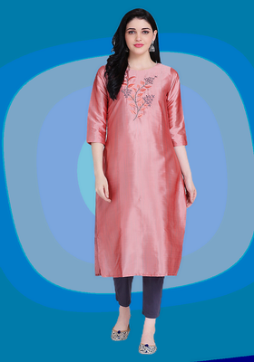 Pink embroidered silk heavy-work-kurtis
